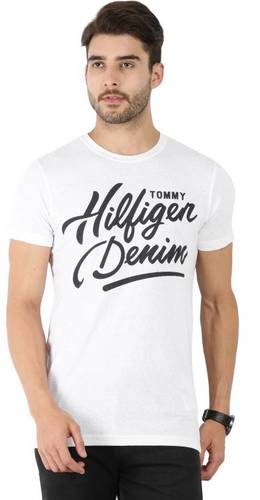 Tommy Hilfiger Printed Men's Round Neck White T-Shirt